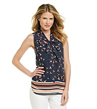 Black Rainn™ Navy Bird Print Woven Top