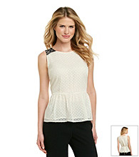 Black Rainn™ Vintage Ivory Clipdot Woven Top