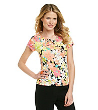 Rafaella® Guava Multi Flower Print Knit Top