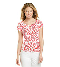 Rafaella® Fire Coral Multi Zebra Print Knit Top