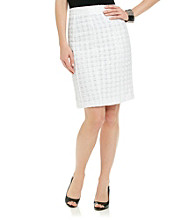 Rafaella® White Eyelash Tweed Pencil Skirt
