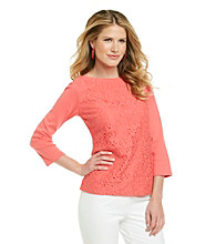 Rafaella® Lace Front Knit Top