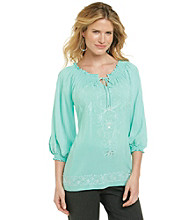 NY Collection Keyhole Neck Smocked Embellished Top