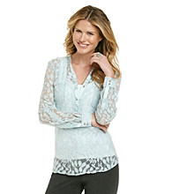 NY Collection Lace Henley Shirt With Pockets