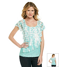 AGB Short Sleeve Lace Diagonal Tiered Printed Knit Top