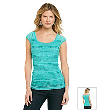 AGB® Pucker Lace Tank With Sheer Shoulders