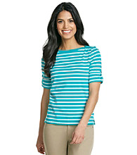 Jones New York Sport® Petites' Roll Sleeve Boat Neck Striped Top
