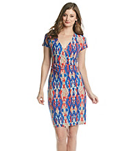 Jones New York Signature® Petites' Coral And Blue Print Faux Wrap Dress