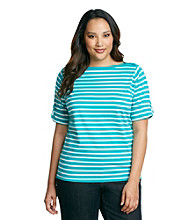 Jones New York Sport® Plus Size Boatneck Roll Sleeves Striped Knit Top