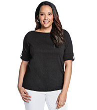 Jones New York Sport® Plus Size Boatneck Roll Sleeves Knit Top