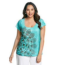 Oneworld® Plus Size Printed Rain Wash Tee