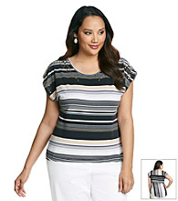 Oneworld® Plus Size High-Low Striped Tee With Studs