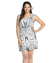Oneworld® Plus Size Woven Multi Color Flip Flop Dress