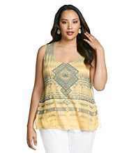 Oneworld® Plus Size Mixed Media Layered Tank