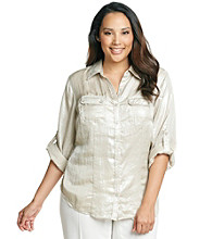 Calvin Klein Plus Size Metallic Woven Shirt
