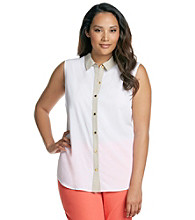 Calvin Klein Plus Size Button Up Woven Blouse