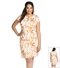 Calvin Klein Plus Size Abstract Print Keyhole Dress