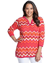 Jones New York Signature® Plus Size Zig-Zag Stitch Pullover Sweater