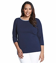 Jones New York Signature® Plus Size Boatneck Denim Trim Tee