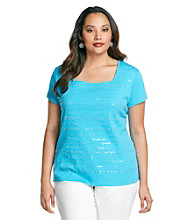 Rafaella® Plus Size Squareneck Sequin Stripe Top