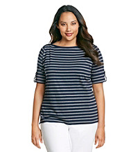 Jones New York Sport® Plus Size Boatneck Striped Roll Sleeve Top