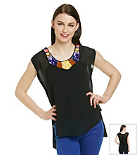 Potter's Pot Embellished Neckline Wioven Top