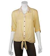 A. Byer Juniors' Colorblock Tab Sleeve Woven Top