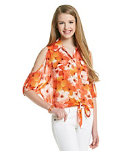 XOXO® Juniors' Cold Shoulder Print Shirt