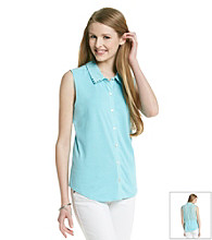 Sequin Hearts® Juniors' Knit To Woven Shirt