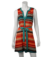 A. Byer Juniors' Multi Stripe Belted Dress