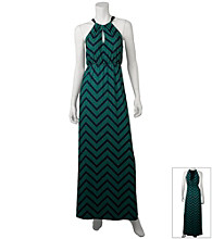 A. Byer Juniors' zig zag halter maxi dress