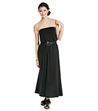 Belle du Jour Juniors' Strapless Tube Maxi Dress with Belt