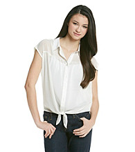 Pink Rose® Juniors' Tie Waist Button Front Top