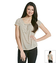 Pink Rose® Juniors' Polka Dot Tee with Cutaway Back