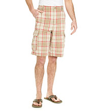 Ruff Hewn Men's Camel Khaki Plaid Cargo Short