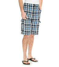 Ruff Hewn Men's Navy Breeze Plaid Cargo Short