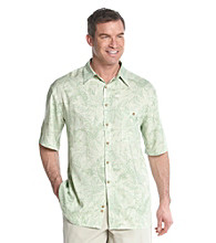 Paradise Collection® Men's Aloe Short Sleeve Rayon Woven Tonal Leaf Print Shirt