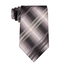 John Bartlett Statements Men's Black Silk Plaid Tie