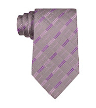 John Bartlett Statements Men's Tonal Grey Grid with Purple Accent Silk Tie