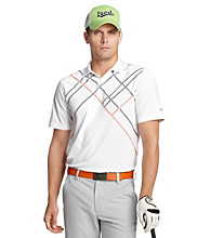 Izod® Men's Bright White Geometric Cross Print Polo