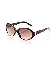 Relativity® Medium Plastic Oval Sunglasses - Brown