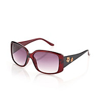 Relativity® Medium Plastic Square Floral Detail Sunglasses - Wine