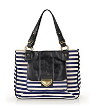 GAL Horizontal Stripe Tote - Navy/Black