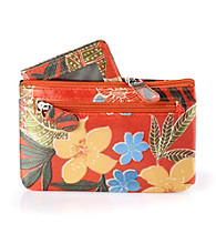 Relativity® Key, Card, and Coin Wallet - Orange Tropical Floral