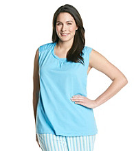 KN Karen Neuburger Plus Size Knit Sleeveless Top - Le Mer Blue