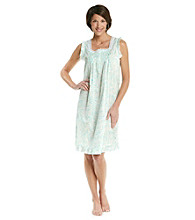 Miss Elaine® Sleeveless Woven Gown - Mint Print