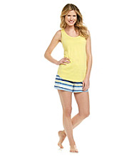 Relativity® Pajama Set - Lemon/Navy Stripe