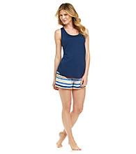 Relativity® Pajama Set - Navy/Orange Stripe