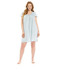 Miss Elaine® Plus Size Silky Knit Short Gown - True Blue