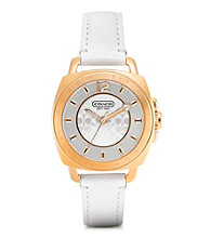 COACH WHITE BOYFRIEND SMALL STRAP WATCH